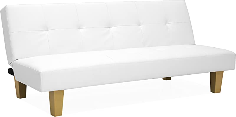 Best Choice Products Upholstered Button Tufted PU Leather Convertible Reclining Lounge Couch Futon Sofa Bed W Sturdy Wood Frame White