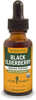 Herb Pharm Certified Organic Black Elderberry Liquid Extract for Immune System Support, Alcohol-Free Glycerite, 1 Ounce
