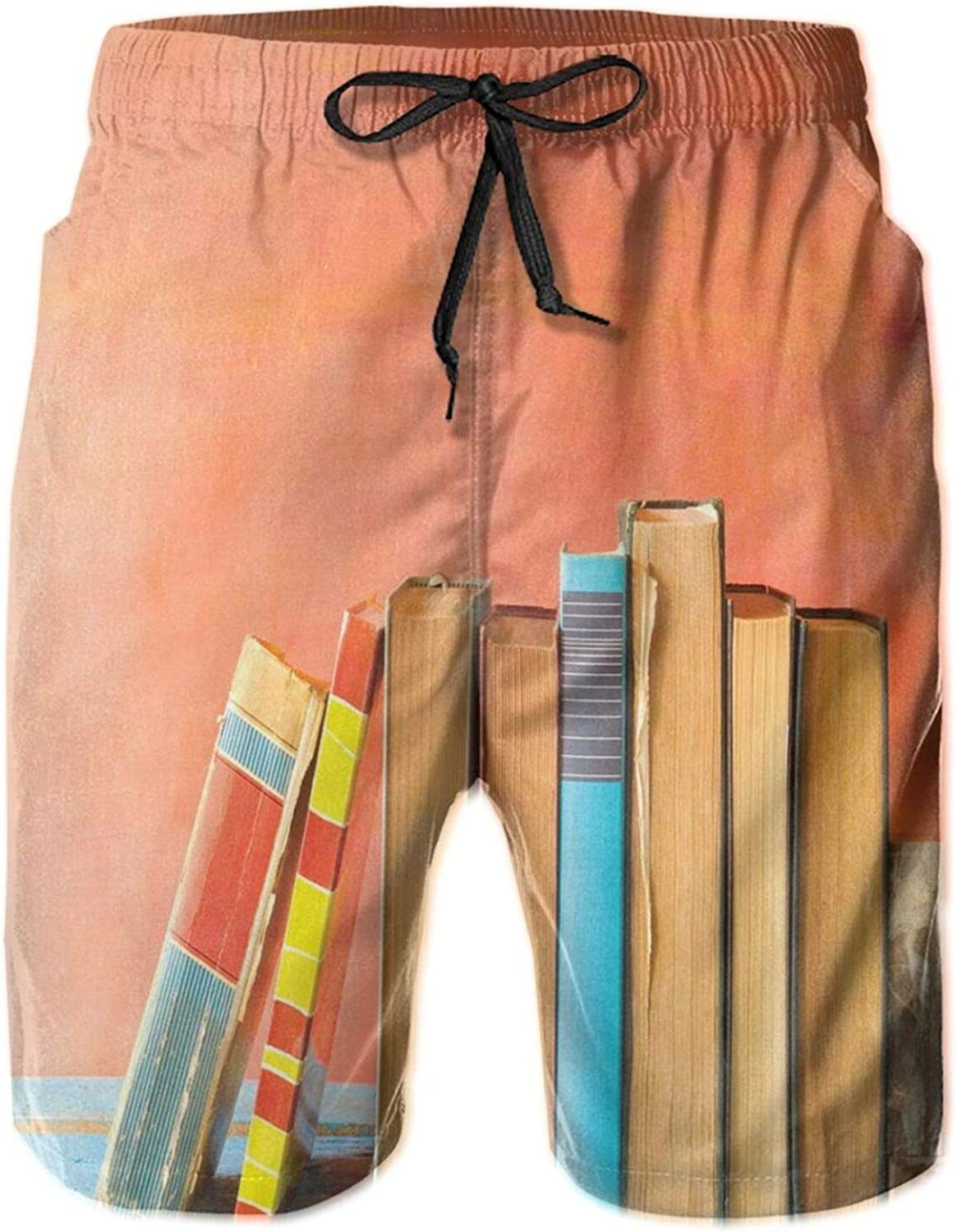 Grunge Painted Backdrop Photo with Row of Old Vintage Books On Wooden Shelf Print Mens Swim Shorts Casual Workout Short Pants Drawstring Beach Shorts,XXL