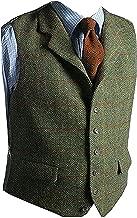 Pretygirl Men's Wool Herringbone Groom Vests Groom's Suit Vest/Tweed Business Suit Jacket