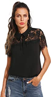 Women's Peter Pan Collar Lace Neck Short Sleeve Blouse Top
