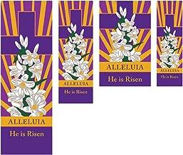 Celebration Banners Alleluia He is Risen Easter Church Banners (3 Feet (W) x 9 Feet (H), Grommets)