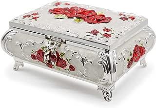AVESON Luxury Vintage Rectangular Metal Alloy Jewelry Box Organizer Storage Box Ring Trinket Case for Women Girls, Christmas Birthday Gift, Large, Silver & Red