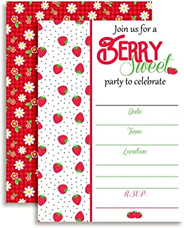 strawberry shortcake first birthday invitations