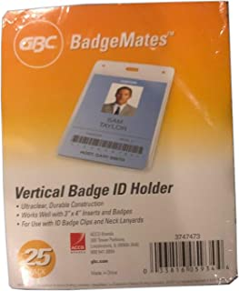 GBC BadgeMates Vertical ID Badge Holder, 4 x 3 Inches, Clear, 25 Holders per Pack (3747473)