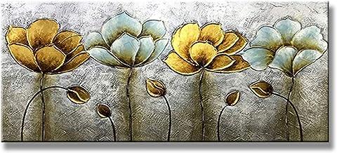 Handgeschilderd Olieverfschilderij - Moderne Mode Handgeschilderde Abstracte Bloemen Landschap Olieverfschilderij Textuur ...