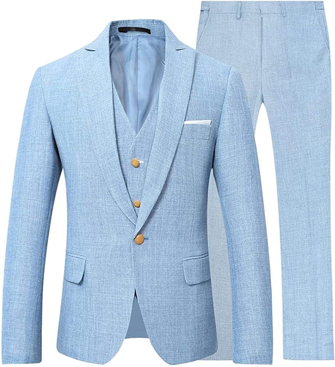Mens Linen Beach Suit Wedding Groom Prom Slim Fit Party 3 Pieces Suits