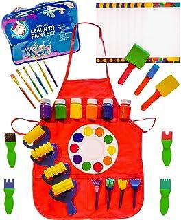 Little Kids Art Set - Kids Art Supplies - 48 Piece Set Paint Brushes, Bonus Paint Smock, Finger Paints, Palette, Foam Text...
