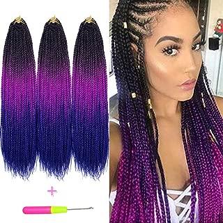 Senegalese Twist Crochet Hair Three Tone Kanekalon Braiding Hair Belleshow Synthetic Hair Extensions Crochet Braids Senegalese Box Braids (3 pcs 22 inch, 1b/purple/blue)