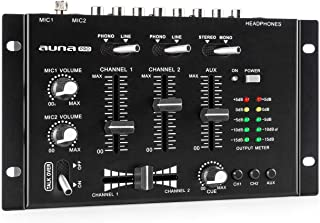 auna Pro TMX-2211 MKII Mezclador para DJ, 3/2 Canales, 2x6.3mm Mic-In, 2 x RCA-Linein con Phono-Switch, RCA-AuxIn, Crossfa...
