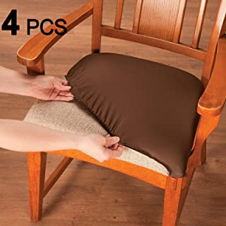 Voilamart Dining Chair Seat Covers Stretch Removable Washable Dining Chair Cover Slipcovers Soft Chair Protectors Chair Seat Cushion Slipcovers - Pack of 4, Coffee