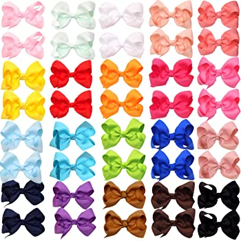 """40Pieces Boutique Grosgrain Ribbon Pinwheel 3"""" Hair Bows Alligator Clips For Babies Toddlers Teens Gifts In Pairs"""