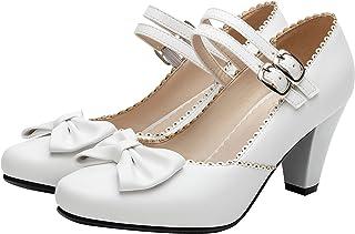 ZUOBOLA ماري جين أحذية النساء الكعب مزدوجة مشبك الكاحل الأشرطة عالية الكعب للمرأة مضخات مع القوس