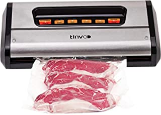 TINVOO Vacuum Sealer Machine, 8-in-1 Multi-Function Food Sealer for Food Saver, w/Starter Kit|Dry&Moist Modes|Led Indicator Lights|Stainless Stee|Built-in Storage & Cutter & Mobile drip Tray, Silver