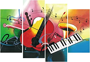GEVES Music Notes Wall Art Violin Piano Giclee Print Canvas Paintings Artist Home Decoration Picture for Music Classroom Kid's Living Room Posters Framed Ready to Hang