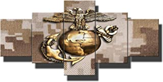 Wall Pictures for Living Room US Marine Eagle Art Work for Home Walls Globe and Anchor Brass Emblem Paintings 5 Piece Canvas Artwork Home Decor Posters and Prints Framed Ready to Hang(50''Wx24''H)