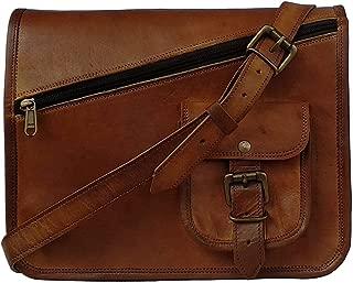 MNI Small Leather Messenger Bag Shoulder Bag Cross Body Vintage Messenger Bag Women & Men Satchel (9 x 11)