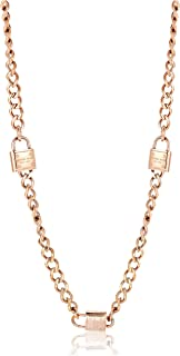 "Michael Kors MKJ3724 Rose Gold Tone Padlock Station 32"" Toggle Necklace"