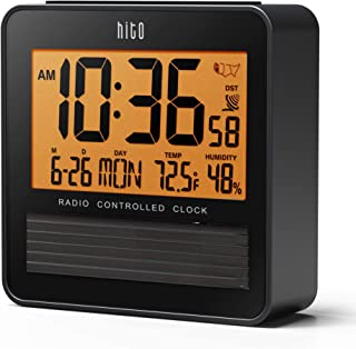 "hito 3.7"" Atomic Travel Alarm Clock with Solar Panel, Date Day Indoor Temperature Humidity, Amber Backlight- Battery Operated"