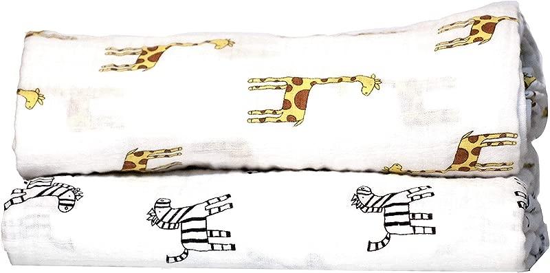 Swaddle Blanket Safari Animal Collection Giraffe Zebra 2 Pack Baby Blanket For Newborns Swaddle Blanket Swaddle Wrap Muslin Swaddle Receiving Blankets