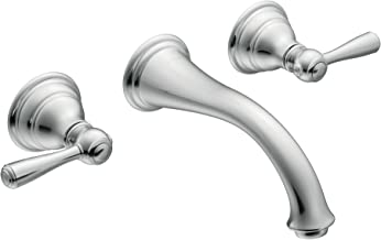 Moen T6107 Kingsley Two-Handle Low Arc Wall Mount Bathroom Faucet without Valve, Chrome