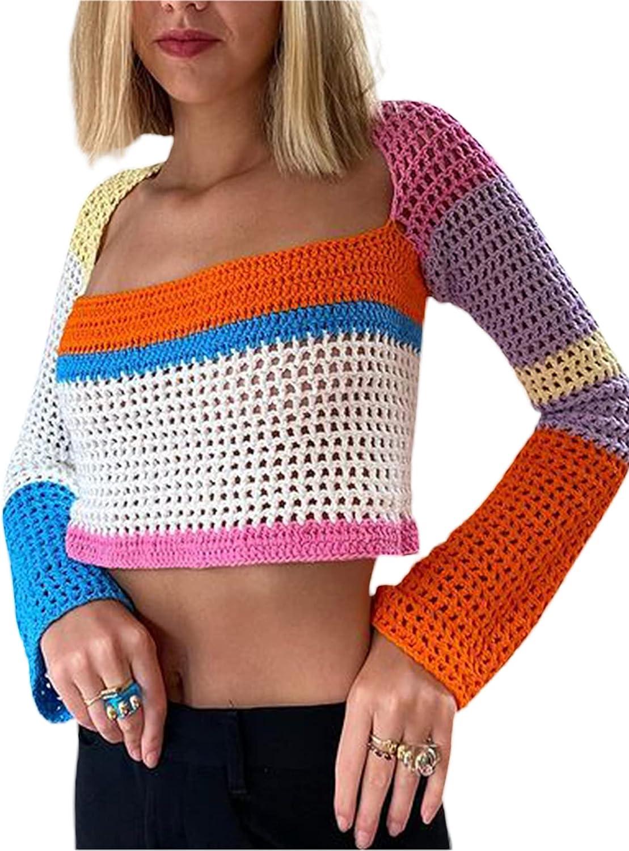 Women Crochet Knit Crop Tops Long Sleeve Color Block Pullover Loose Patchwork Y2K Tops 90S Streetwear
