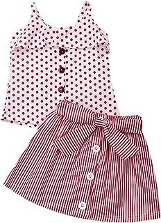 e24d930c6e48 1-6T Little Girl Baby Outfit Set Halter Ruffle Polka Dot Tops Stripes Skirt  2pcs