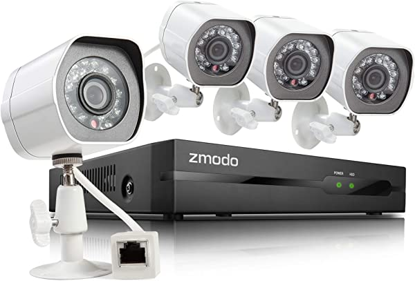 Zmodo SPoE Surveillance Camera System 4 Channel HD NVR 4Weatherproof HD Security Cameras W Night Vision Remote Monitoring Motion Detection IOS Android App HDD Not Included Renewed