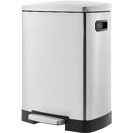 Amazon Basics Poubelle de recyclage rectangulaire à pédale avec 2 compartiments et couvercle à fermeture douce, 25L & 15L