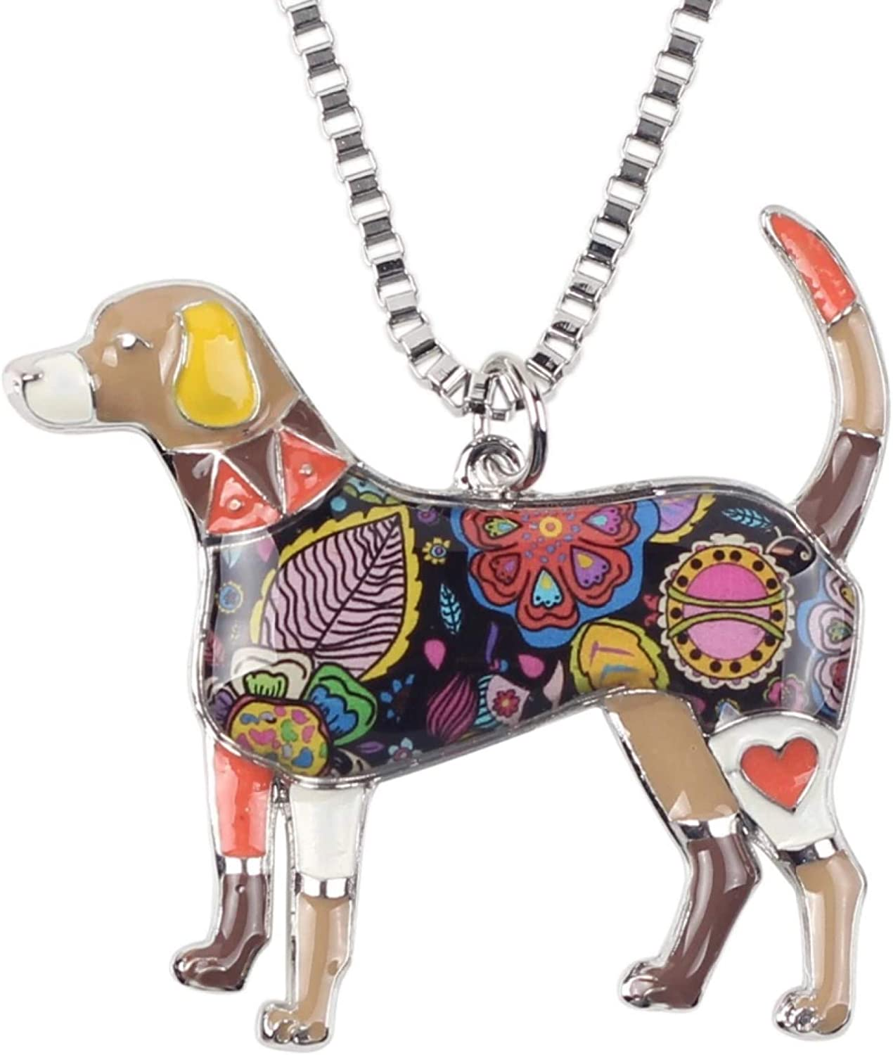 Necklace Pendant Metal Alloy Enamel Beagle Choker Necklace Chain Collar Pendant Fashion New Jewelry for Women Christmas Birthday Gift
