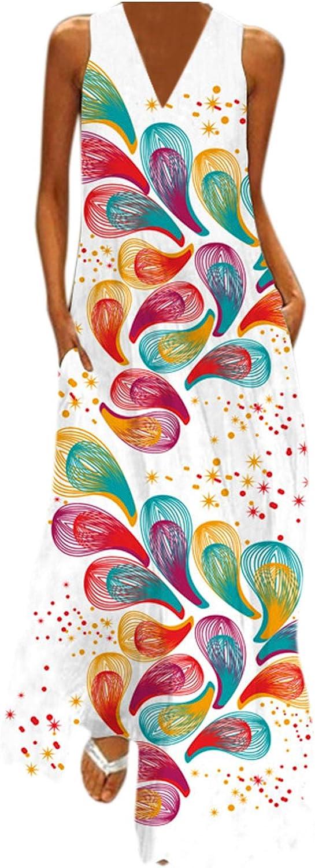 Sun Dresses Women Summer,Women's Floral Sleeveless Beach Dresses Maxi Long Dress Casual Boho with Pockets Sundress