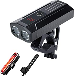 TANSOREN LED Display USB Rechargeable Bike Light Front and COB Tail Light Set, 2000 Lumens LED Built-in Power Bank Front Bicycle Light Upgrade Aluminum Alloy Front Bike Light Base