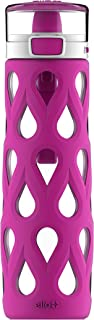 Ello Gemma Glass Water Bottle with One-Touch Flip Lid,  22 oz,  Pink