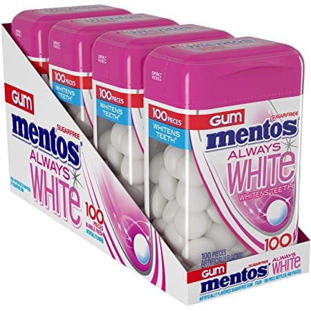 Mentos Always White Sugar-Free Chewing Gum with Xylitol, Bubble Fresh, 100 Piece Bottle (Pack of 4)