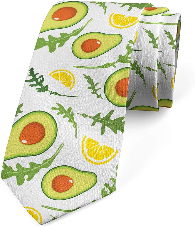 Ambesonne Men's Tie, Sliced Avocados and Lemons, Necktie, 3.7