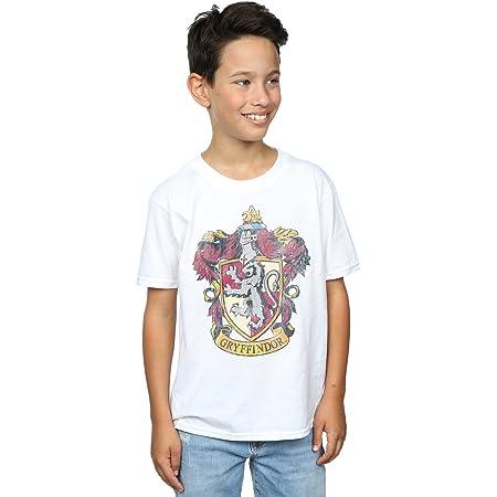 HARRY POTTER niños Gryffindor Distressed Crest Camiseta 9-11 Years Blanco