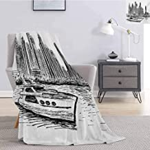 Luoiaax Sketchy Flannel Fleece Throw Blanket New York Manhattan Cityscape Hand Drawn Style Skyscrapers Modern Boat on River Super Soft Cozy Queen Blanket W70 x L84 Inch Black White