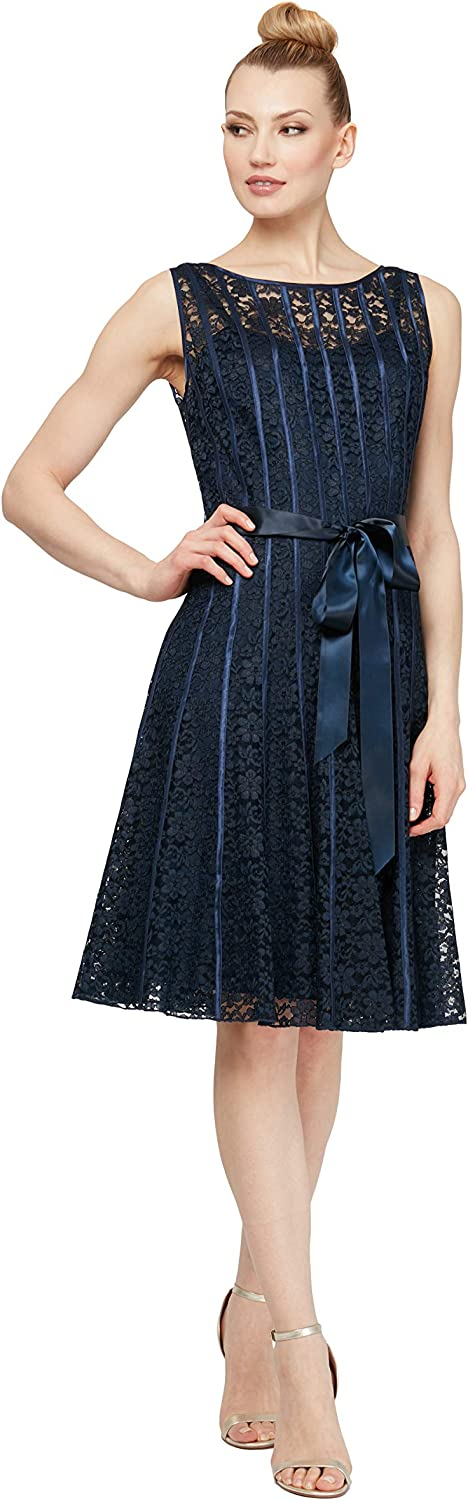 S.L. Fashions Women's Lace and Sequin Fit and Flare Dress