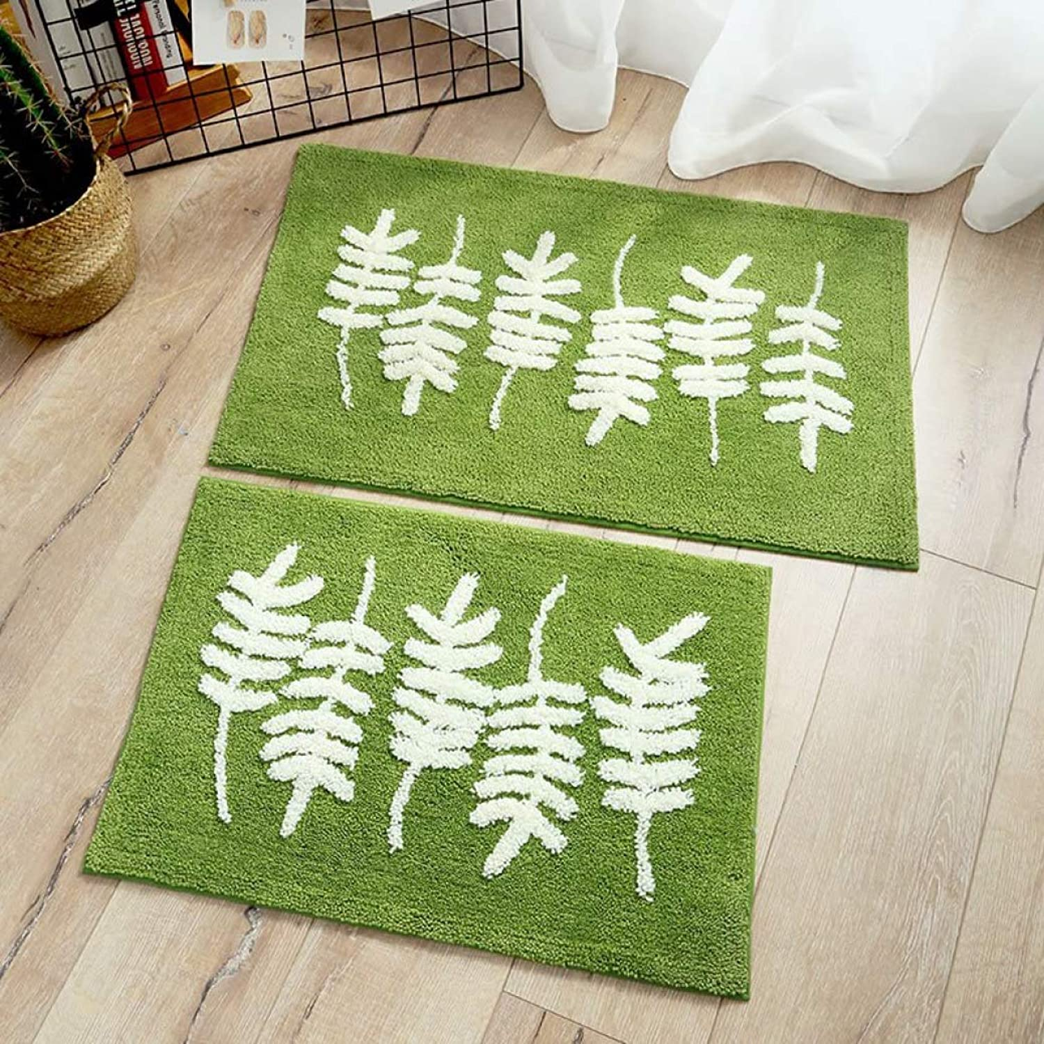 Thickened Flocking Green Bathroom Carpet Door Mat Toilet Non-Slip Bedside Rugs.