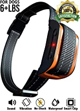 Bark Collar [2019 Superhuman CHIP] Best for Small Medium Large Dogs, Most Effective Anti Bark Device 7 Sound and Vibro Modes, No Harmful Shock, No Pain for a Dog, Hypoallergenic (Black/Orange)