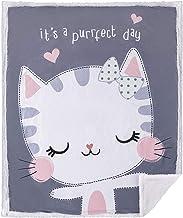 "5 STARS UNITED Baby Blanket for Girls and Boys – Gray Cat 30""x40"" - Animal Print - Premium Minky Fleece with Sherpa Throw ..."