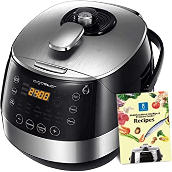 Aigostar Happy Chef 30IWY – Robot de cocina multifunción, cocina a presión: 7 aparatos en uno, 15 funciones, panel led, 900W, 5L, temporizador. Incluye libro de recetas. Libre de BPA. Diseño exclusivo