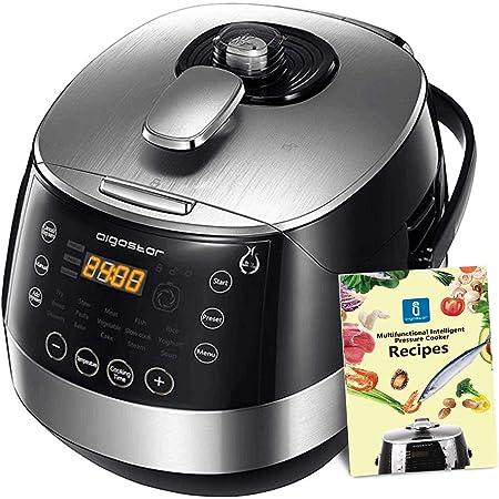 Aigostar Happy Chef 30IWY - Multicuiseur 7 en 1, 900W, 15 fonctions programmables avec grand écran LED incliné, minuterie et fonction maintien au chaud. Récipient anti-adhésif de 5 litres avec poignée
