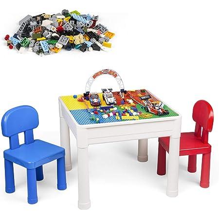 LADUO Table et Chaise Enfant, Multi-activités Table de Jeu et 2 Chaises pour Enfants, Table de Blocs de Construction, avec 100 pièces Blocs de Particules, Table d'Étude, Table de Salle à Manger