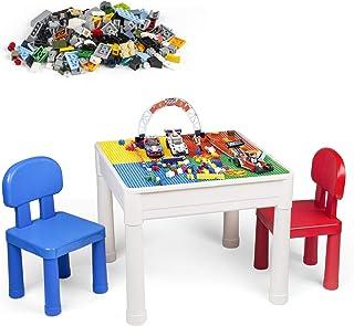 LADUO Ensemble de chaises de Table Multi activités pour Enfants-Jouet de Briques de Blocs de Construction de 100 pièces, C...