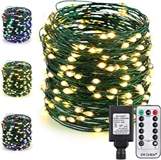 ER CHEN Color Changing LED String Lights Plug in with Remote, 72Ft 200 LED Green Copper Wire Fairy Lights 8Modes Christmas Lights with Timer for Bedroom, Patio, Garden, Yard-Warm White & Multicolor