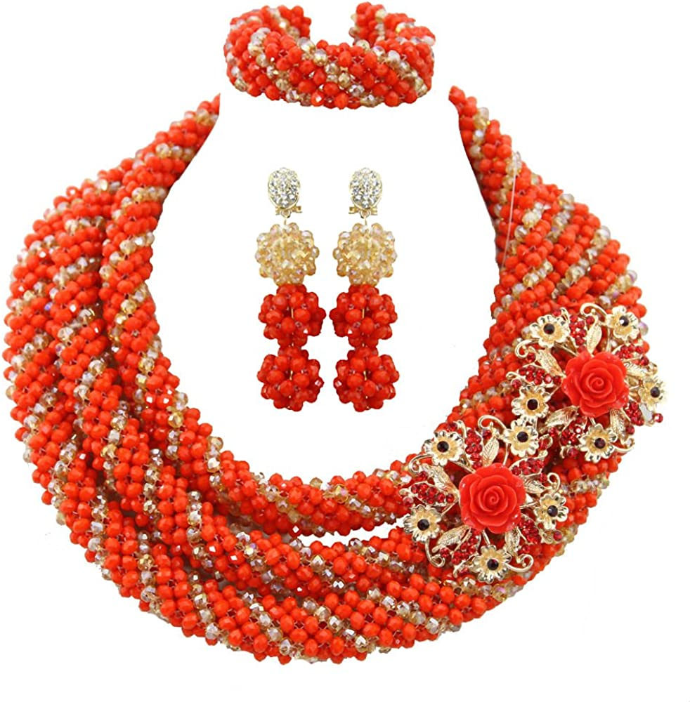Africanbeads 6mm 3-Row Product Orange Crystal Set Nigerian Jewelry Be super welcome Beads