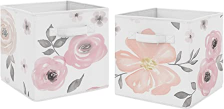 Pink and Grey Watercolor Floral Foldable Fabric Storage Cube Bins Boxes Organizer Toys Kids Baby Childrens for Collection ...