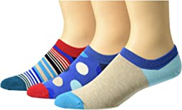 3-Pack Variegated Stripes Sneaker Liner Socks