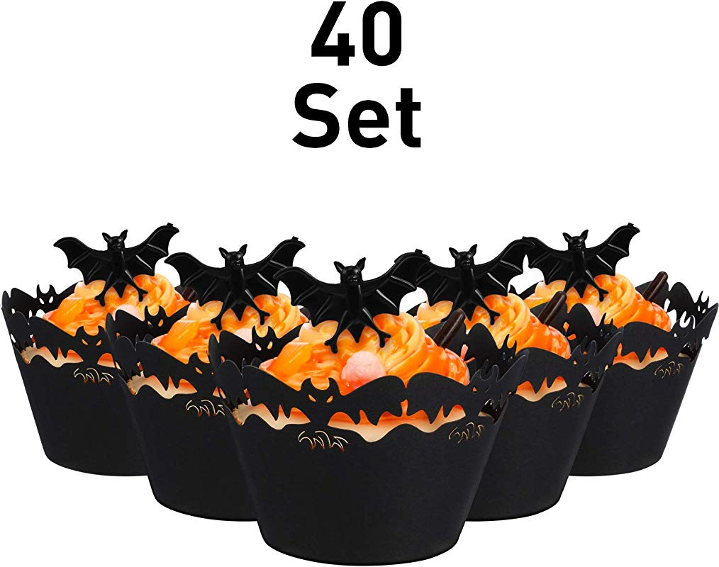 40 Sets Cupcake Wrappers Bake Cake Paper Cups And Plastic Rings Toy Rings Decorate Cake Decorative Accessories For Halloween Party Bat Black Bat Ring